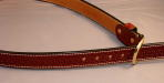 Basketweave belt Suntan with white thread